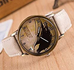 Zeen - Fashion Retro Casual Dress leisure dress BG Cowboy Jeans Leather Band Quartz Analogue Smart Watch + with extra cell