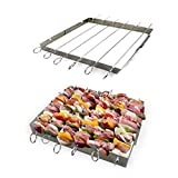 The Ultimate Barbecue Skewers and Rack Set, Six Stainless Steel BBQ Shish Kabob Set, Kabob Skewers for Meat, Chicken , Mushroom, Fruits and Vegetables for Your BBQ PARTY- Free E-BOOK Included !!