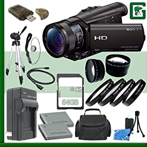 Sony HDR-CX900 Handycam Camcorder (Black) + 64GB Green's Camera Bundle 6
