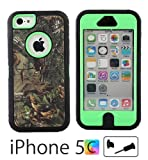 iCustomized (TM) Black and Green Rugged Heavy Duty Hard Dual Layer Weather and Water Resistant Case with Camouflage Woods Design for the NEW Apple iPhone 5C (AT&T, Verizon, Sprint), Black Audio Jack Dust Plug Reviews