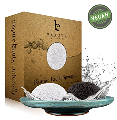 Beauty by Earth Konjac Facial Sponge ★ Pack of 2 Sponges (Charcoal and Natural) for Oily to Sensitive Skin Types