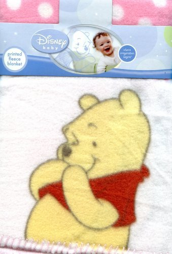 DISNEY BABY PINK PRINTED FLEECE BLANKET - POOH - 1