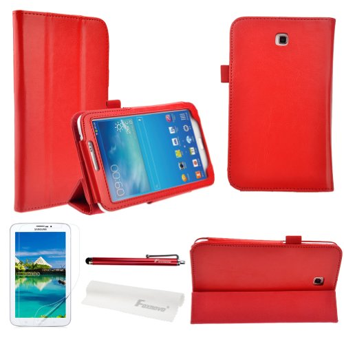 Foxnovo® Hot Flip PU Leather Case Cover for Samsung Galaxy Tab 3 7.0 P3200 / P3210 / T210 / T211 & Stylus Pen & Screen Guard & Cleaning Cloth (Crazy Horse( Red))