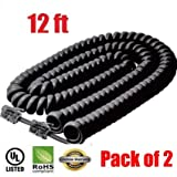 iMBAPrice® (Pack of 2) Black Coiled Telephone Phone Handset Cable Cord, Coiled Length 3 to 12 feet Uncoiled (Value Pack)