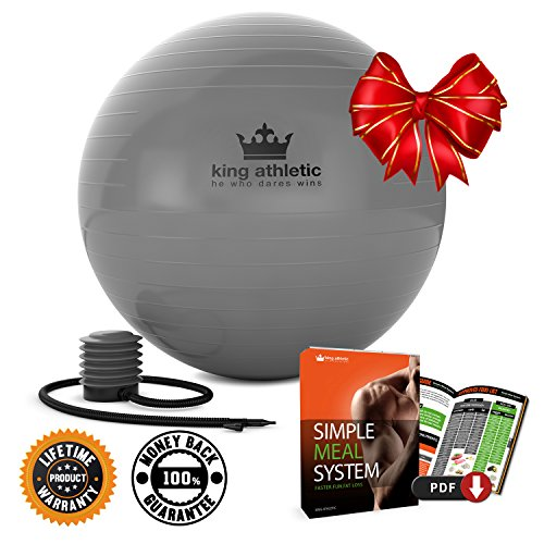 Stability Balance Yoga Ball :: Swiss Exercise Balls Made With Anti Burst Rubber :: Fitness Ball Chair Comes - 65 cm