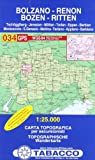Bozen, Ritten, Tschögglberg: Wanderkarte Tabacco 034. 1:25000 (Cartes Topograh)