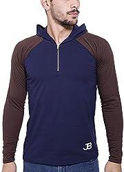 Jangoboy Men's Regular Fit Sweatshirt (F4U-63_M, Dark Blue And Brown, M)