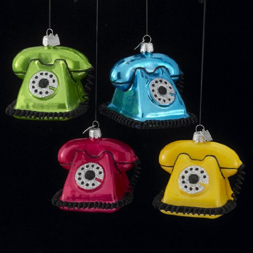 Pack of 8 Colorful Glass Blown Vintage Telephone Christmas Ornaments 3″