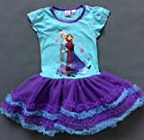 Frozen Princess Elsa and Anna Dress Girls short sleeve Purple Tutu Dress Skirt Costume