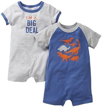 Carter's Baby Boys' 2 Pack Screenprint Rompers (Baby) - Dinos - Newborn