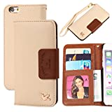 iPhone 6 Case,(4.7),By HiLDA,Wallet Case,PU Leather Case,Credit Card Holder,Flip Cover Skin[Brown]