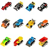 Babytintin Mini Pull Back And Go Toy Cars Vehicles Model Playsets Trucks Dumpers Digger Excavator Bulldozers Racing Cars Karting Floor Play Set For Children Kids(12 Pcs/pack, Color Vary)