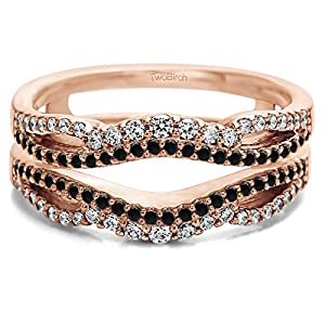 Black And White Cubic Zirconia Double Infinity Wedding Ring Guard Enhancer in 10k Rose Gold (0.49 CTS Black And White Cubic Zirconia)