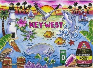 """Key West Florida Map & Icons Fridge Collector'S Souvenir Magnet 2.5"""" X 3.5"""""""