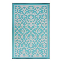 Fab Habitat Venice Indoor/Outdoor Rug, Cream and Turquoise