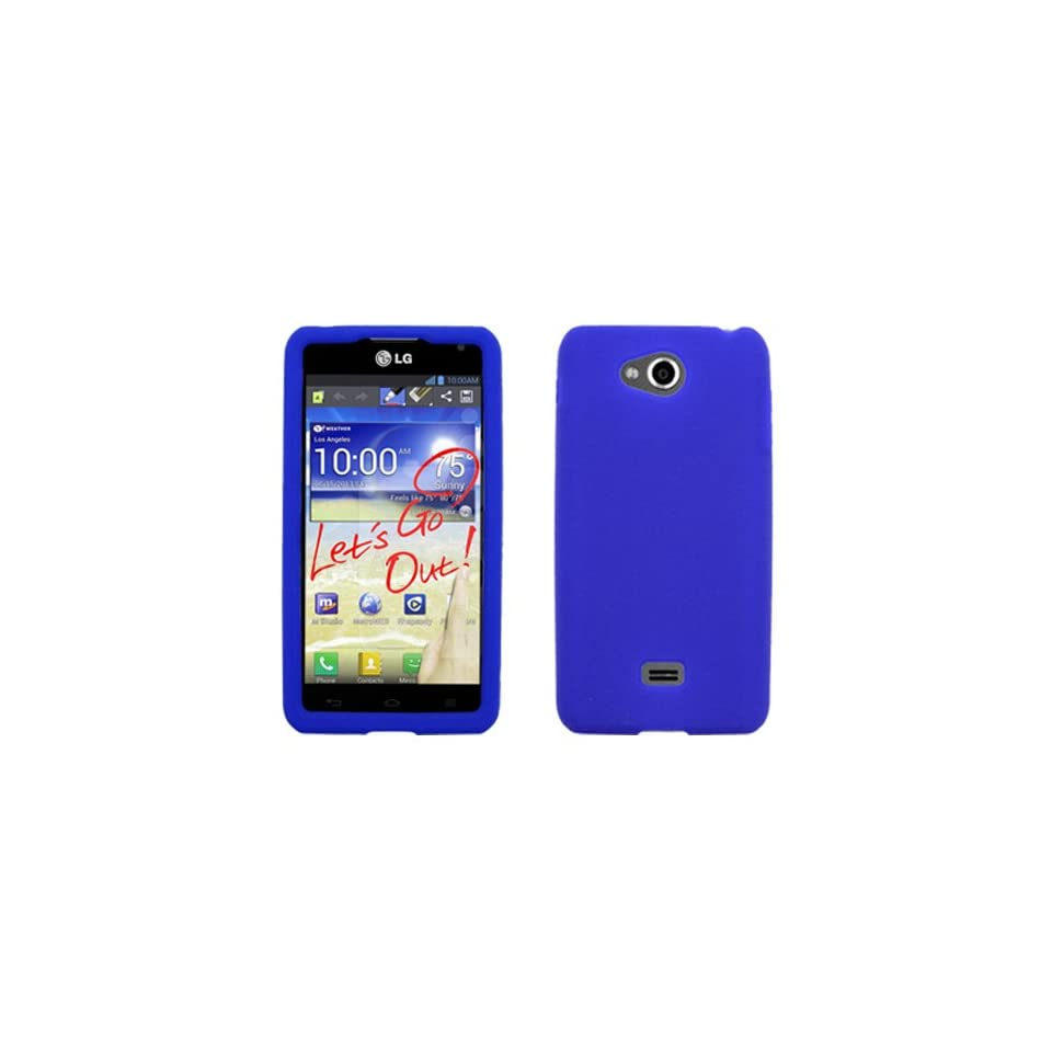 iFase Brand LG Spirit 4G MS870 Cell Phone Solid Blue Silicon Skin Case Cell Phones & Accessories