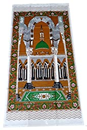 Portable Muslim Prayer Rug Islamic Thin Cloth Namaz Sajadah Camping Backpack Travel Office Sajjadah Dark Brown