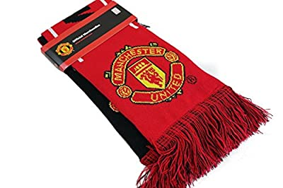 Manchester United Set Beanie Red Reversible Skull Cap Hat and Scarf Reversible