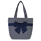 Mily Women's Classic Vintage Style Cotton Bowknot Lightweight Diaper Handbag Tote Polka Dot