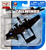"""Maisto Fresh Metal Tailwinds 1:87 Scale Die Cast United States Military Aircraft : U.S. Army Air Force World War II Twin-Engine Monoplane Night Fighter and Intruder Aircraft P-61 Black Widow with Display Stand (Dimension: 5-1/4"""" x 3-1/2"""" x 1"""")"""