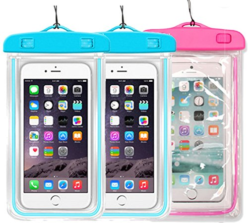 2Pack Blue+1Pack Pink Universal Waterproof Phone Case Dry Bag CaseHQ for iPhone 4/5/6/6s/6plus/6splus Samsung Galaxy s3/s4/s5/s6 etc. Waterproof,Snow Proof Pouch for Cell Phone up to 5.7 inches (Sony Xperia Z1 Carbon Fiber compare prices)