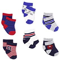 Carter's Hosiery Baby-boys Newborn Six Pack Comp Sports Sock, Blue/White/Grey/Red, 12-24 Months