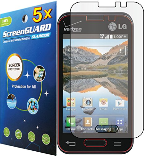 5x LG Optimus Zone II 2 VS415 VS415PP / LG Optimus Fuel L34C Premium Clear LCD Screen Protector Guard Shield Cover Film Kit (Package by Guarmor Brand) (Lg Optimus Fuel Screen compare prices)
