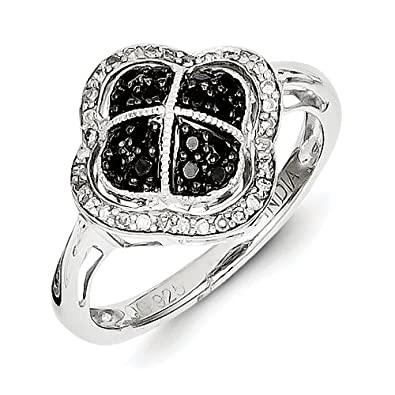 Sterling Silver Black Rough Diamond Flower Ring - Ring Size Options Range: L to P