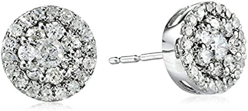 10k White Gold Round-Diamond Cluster Earrings (1/2 cttw)
