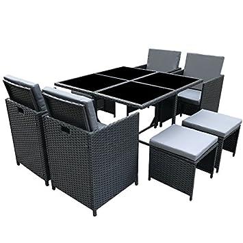 POLY RATTAN Essgruppe Rattan Set mit Glastisch Garnitur Gartenmöbel Sitzgruppe Lounge (4 Stuhle, Schwarz)