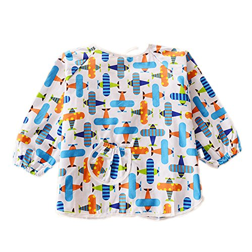 Plane Cotton Waterproof Sleeved Bib Baby Feeding Bibs Art Smock, 2 PCS - 1