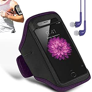 N+ INDIA Samsung Galaxy ON7 2016 Adjustable Armband Gym Running Jogging Sports Case Cover Holder with free earphone with mic Purple