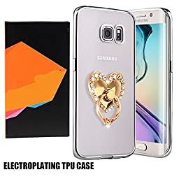 Samsung S7 Rubber Plating TPU Case-Superstart Soft Slim Clear TPU Cover for Samsung Galaxy S7 with 360 Degree Rotating Ring Stand(Silver+White Heart)