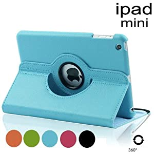 For Apple Ipad Mini NEW 360 Degree Rotating Pu Leather Case Cover W Swivel Stand (Black)