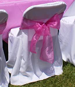 LA Linen Plastic Folding Polyester Poplin Chair Covers Pack Of