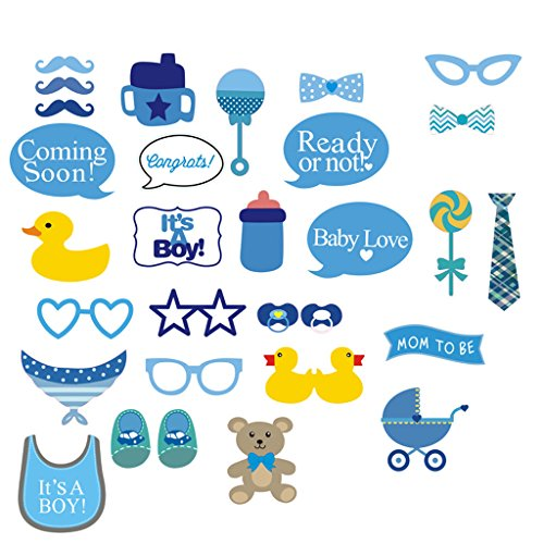 It's A Boy Baby Shower Party Photo Booth Props Kits on Sticks Set of 31pcs (Photo Booth Props Baby Shower compare prices)