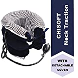 No1 Neck Traction Device + Detachable Washable Cover, ChiSoft Neck Stretcher, Doctors Recommended Cervical Traction Unit for Neck Pain Relief, Helps Correct Posture
