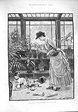1887 の女性温室犬の鍋はじょうろを台なしにします
