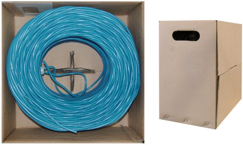 C&E 1000 feet CAT 5E 24AWG 4PR UTP Plenum Solid Ethernet Cable CMP Rated Blue