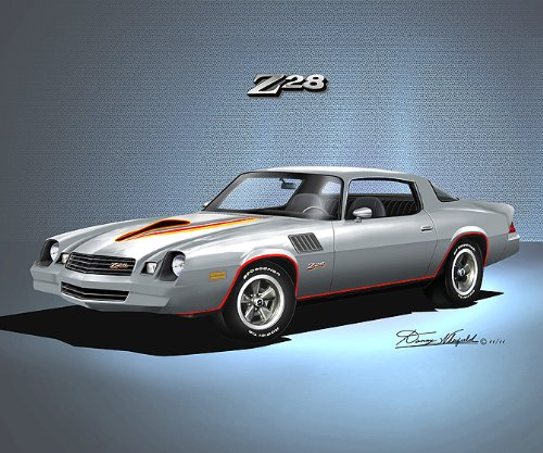 1978-1979 CAMARO Z28 SILVER - ART PRINT POSTER BY ARTIST DANNY WHITFIELD- size 20 X 24 (1978 Camaro Posters compare prices)