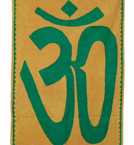 Imagen 2 de Indio decorativo Graceful Patch Work OM espiritual Tapiz de pared colgante hecha por algodón Tamaño 55 x 35 pulgadas