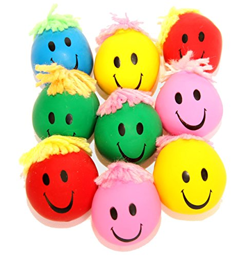 Dazzling Toys Neon Smile Face Squeeze and Stress Balls - Pack of 24 - Assorted Colors
