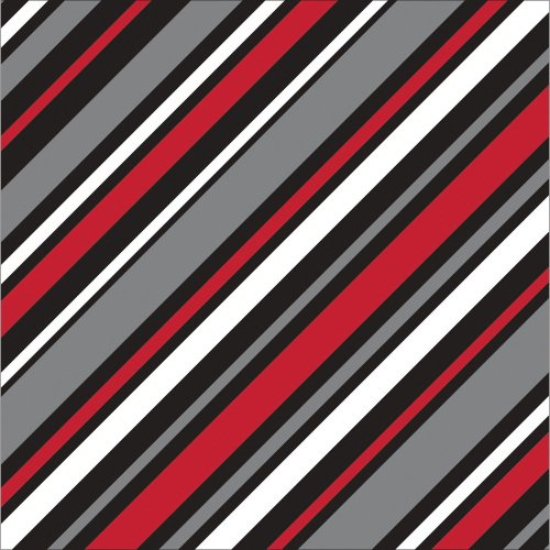 Creative Converting 651677 16 Count 3-Ply Touch of Color Beverage Napkins, Stripes, Classic Red/Black Velvet