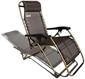 Strathwood Basics Anti-Gravity Adjustable Recliner Chair, Dark Brown with Champagne Frame (Discontinued by Manufacturer)
