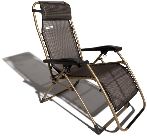 Strathwood Anti-Gravity Adjustable Recliner Chair, Dark Brown with Champagne Frame