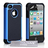 Yousave Accessories AP-GA01-Z386 Coque en gel silicone avec Protecteur pour iPhone 4 / 4S Bleu / Noirpar Yousave Accessories