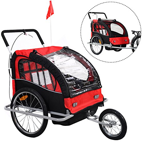 Learn More About Giantex 2 in 1 Double Child Baby Bike Trailer Bicycle Carrier Jogger Stroller