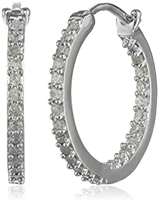 Sterling Silver and Diamond Hoop Earrings (0.5cttw GH Color, I3 Clarity) by Delmar Mfg LLC