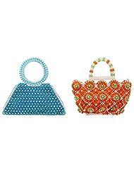 Virali Rao Women's Hand-held Bags Combo, Blue And White, Orange