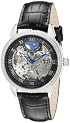 Stuhrling Original Men's 835.02 Special Reserve Automatic Skeleton Stainless Steel Watch With Black Leather Band